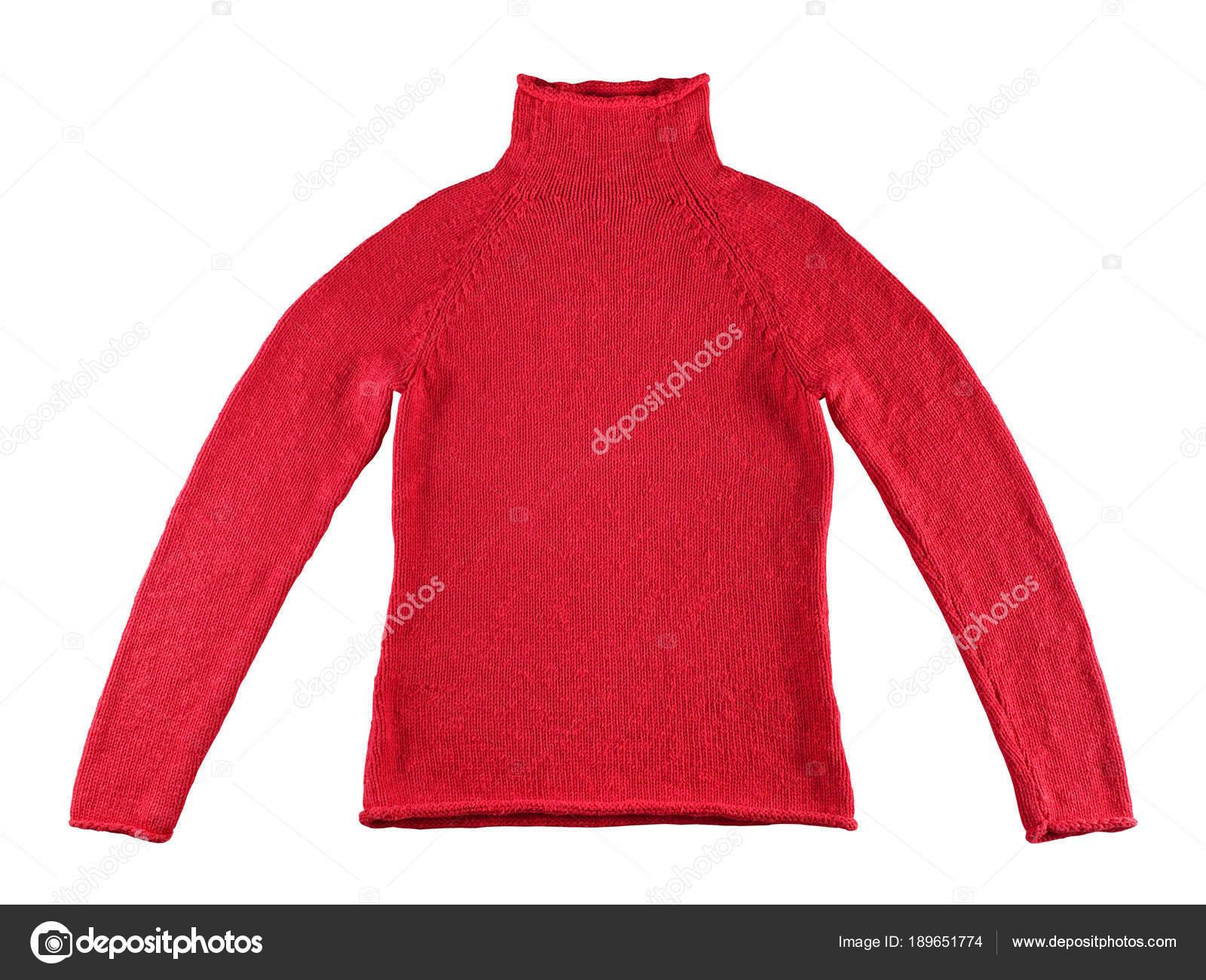 Witte Katoenen Trui.Rode Katoenen Trui Geisoleerd Op Witte Achtergrond Stockfoto