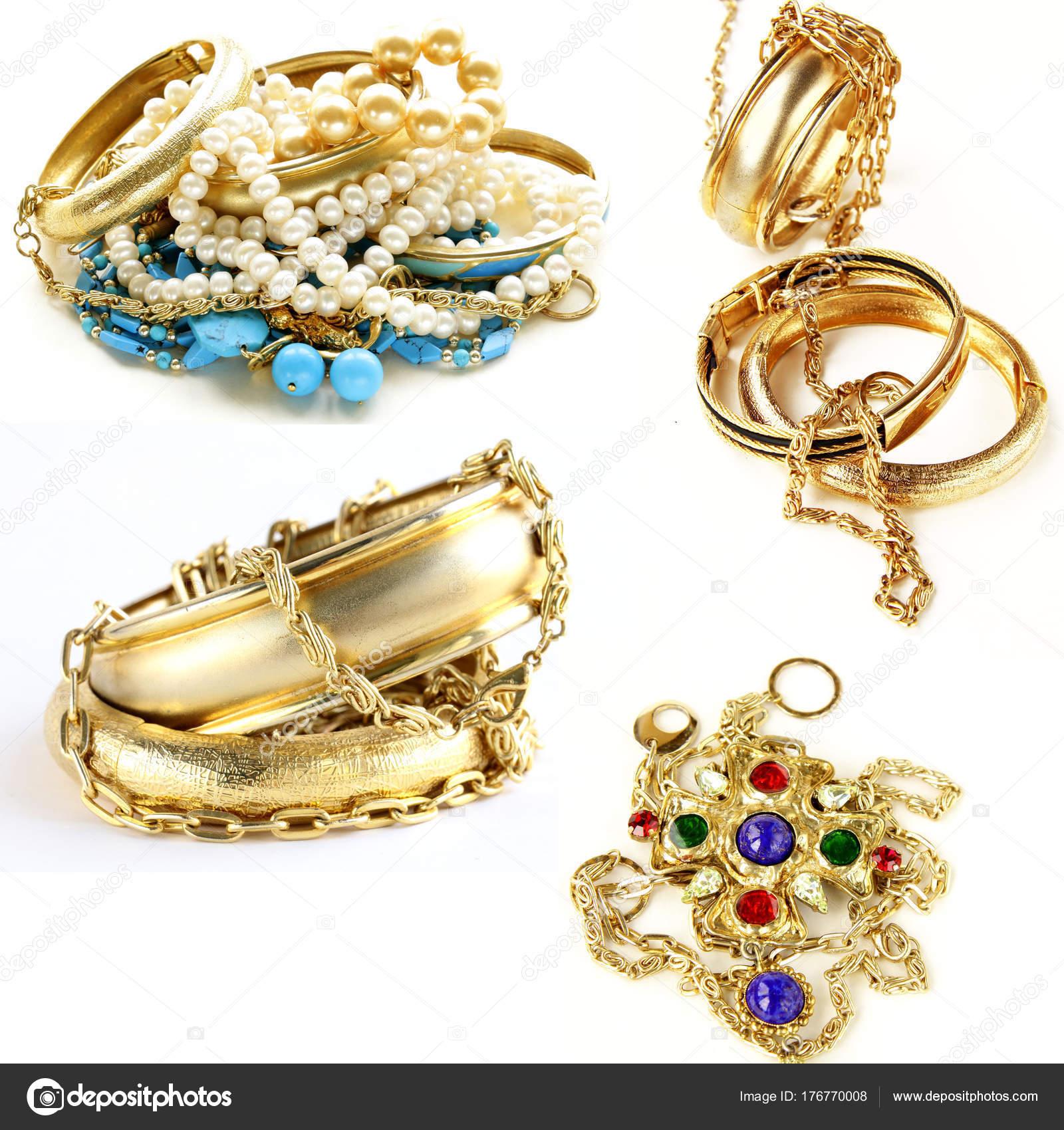 Zlaté Šperky Přívěsky Náramky Prsteny Řetízky — Stock Fotografie ... bf43f1eb8d8