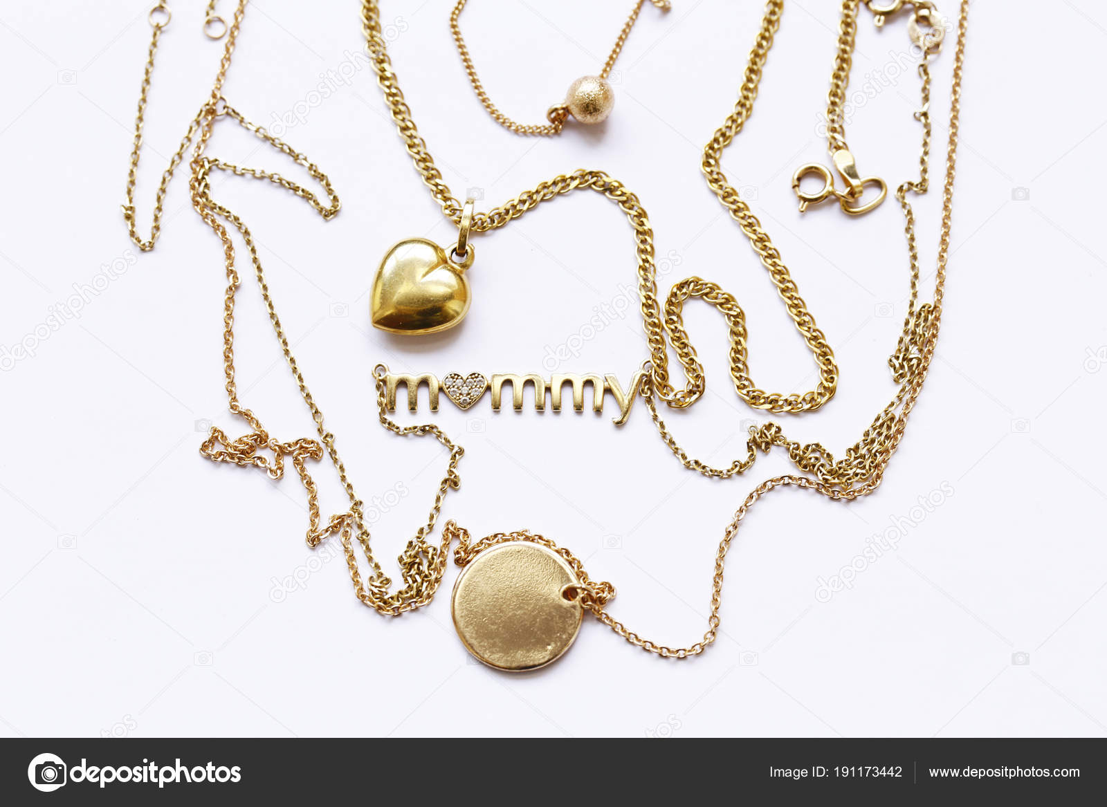 Gold chains necklaces pendants stock photo dream79 191173442 gold chains necklaces pendants stock photo aloadofball Image collections