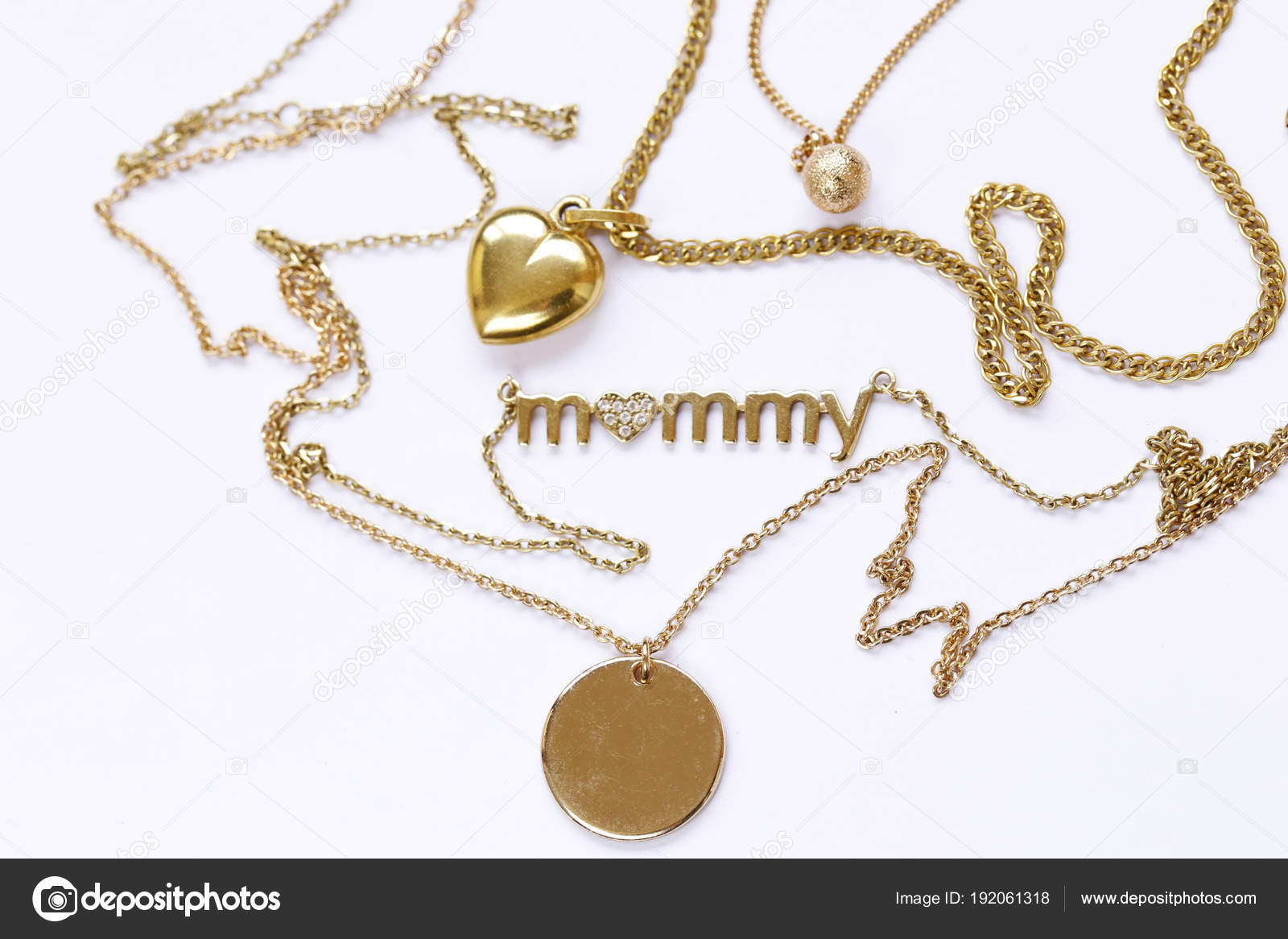 Gold chains necklaces pendants stock photo dream79 192061318 gold chains necklaces pendants stock photo aloadofball Image collections