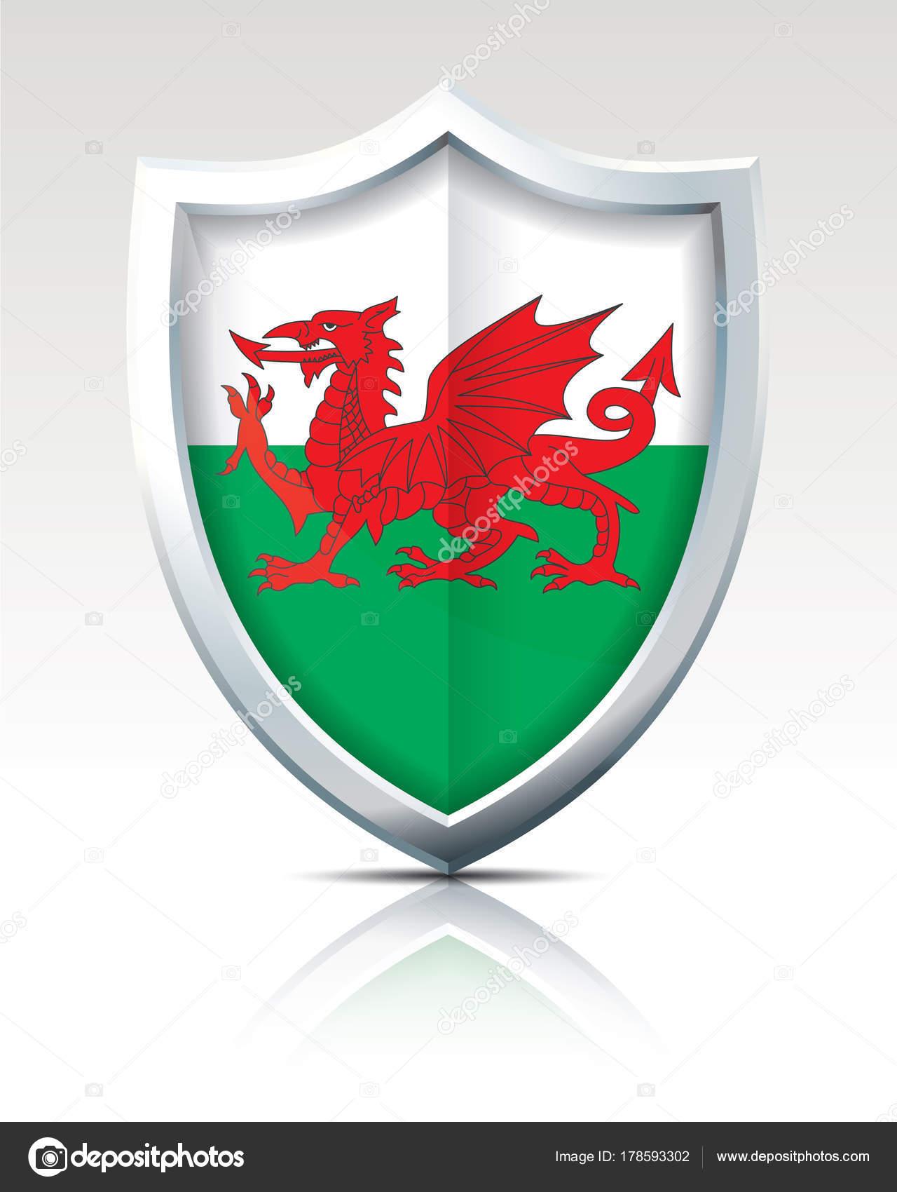 Escudo con la bandera de Gales — Vector de stock © lajo_2 #178593302