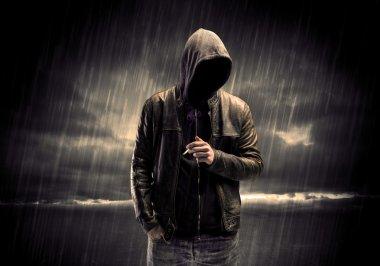 Anonymous terrorist in hoodie at night