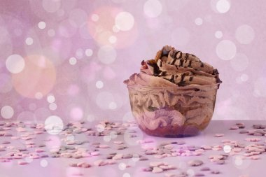 Delicious tasty homemade cakes with bokeh light background
