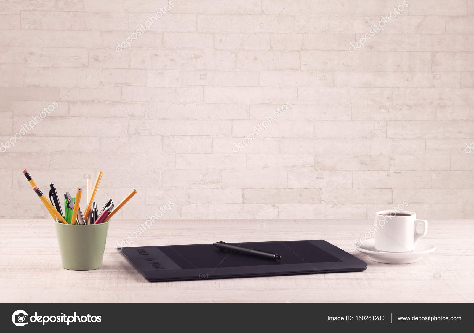wall office desk. Close Up Of Business Office Desk With Pen Board Coffee In Front Empty White Brick Textured Wall Background. \u2014 Photo By Ra2studio