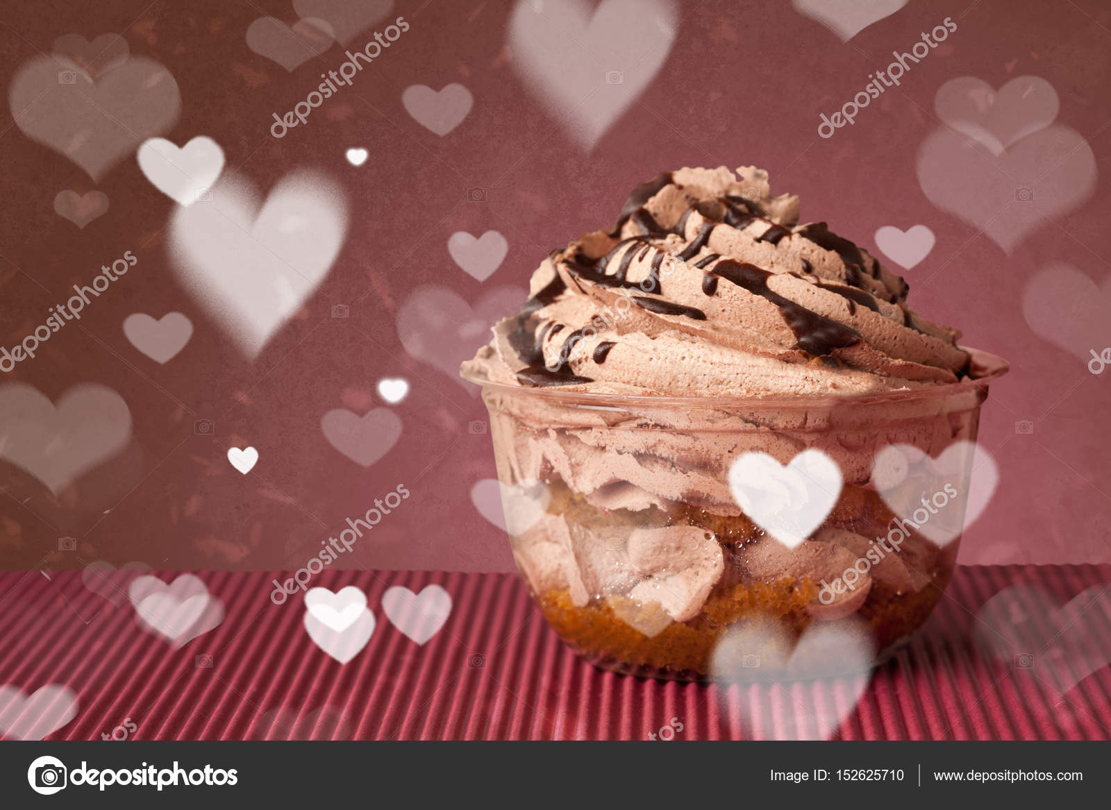 Delicious Party Cakes With Heart Shape Symbols On Colorful Backg