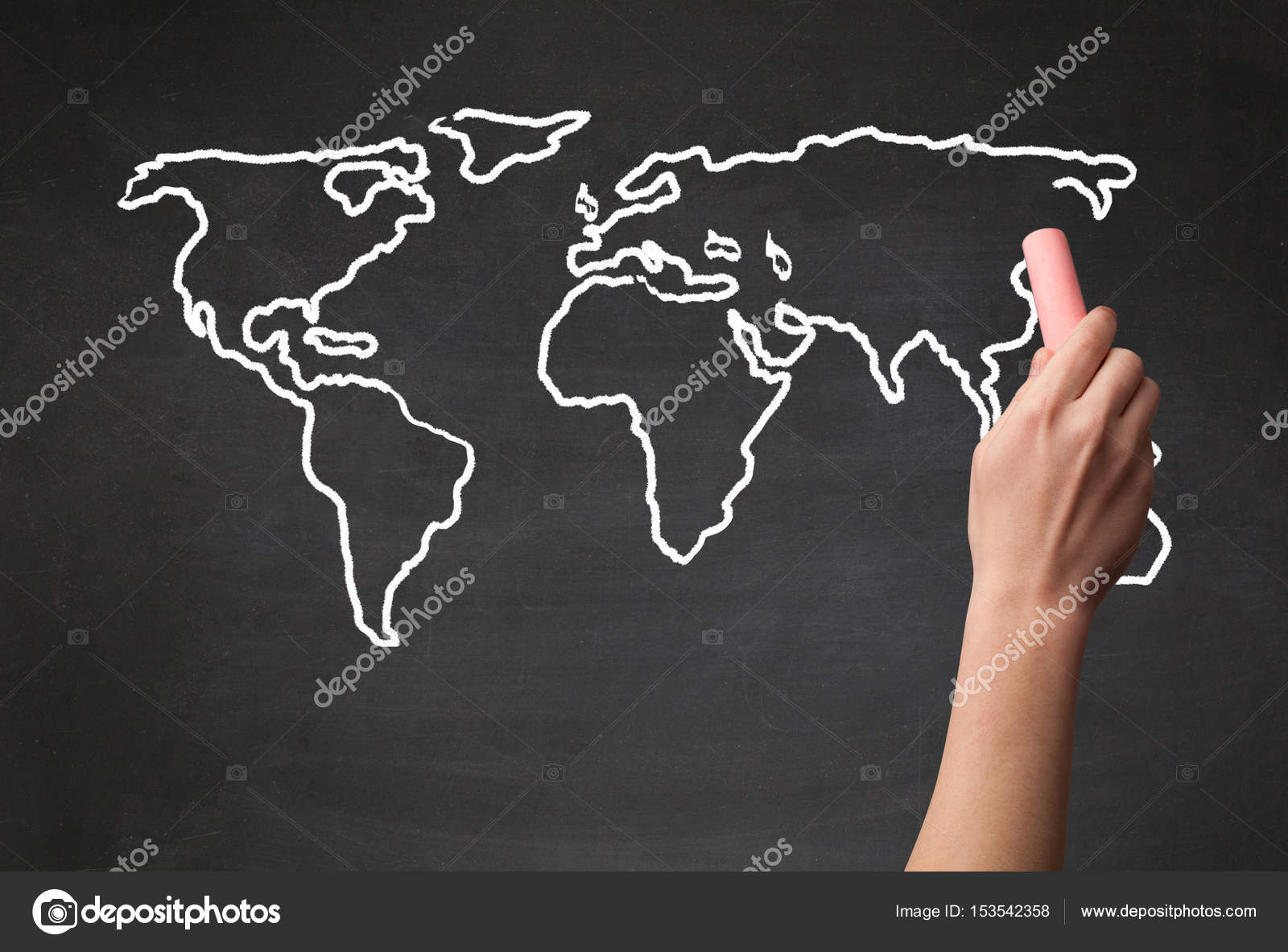 Adult drawing world map on chalkboard stock photo ra2studio a teacher drawing the map of the world on a blackboard with a chalk photo by ra2studio gumiabroncs Image collections