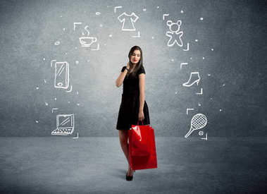 Shopping female with bags and drawn icons