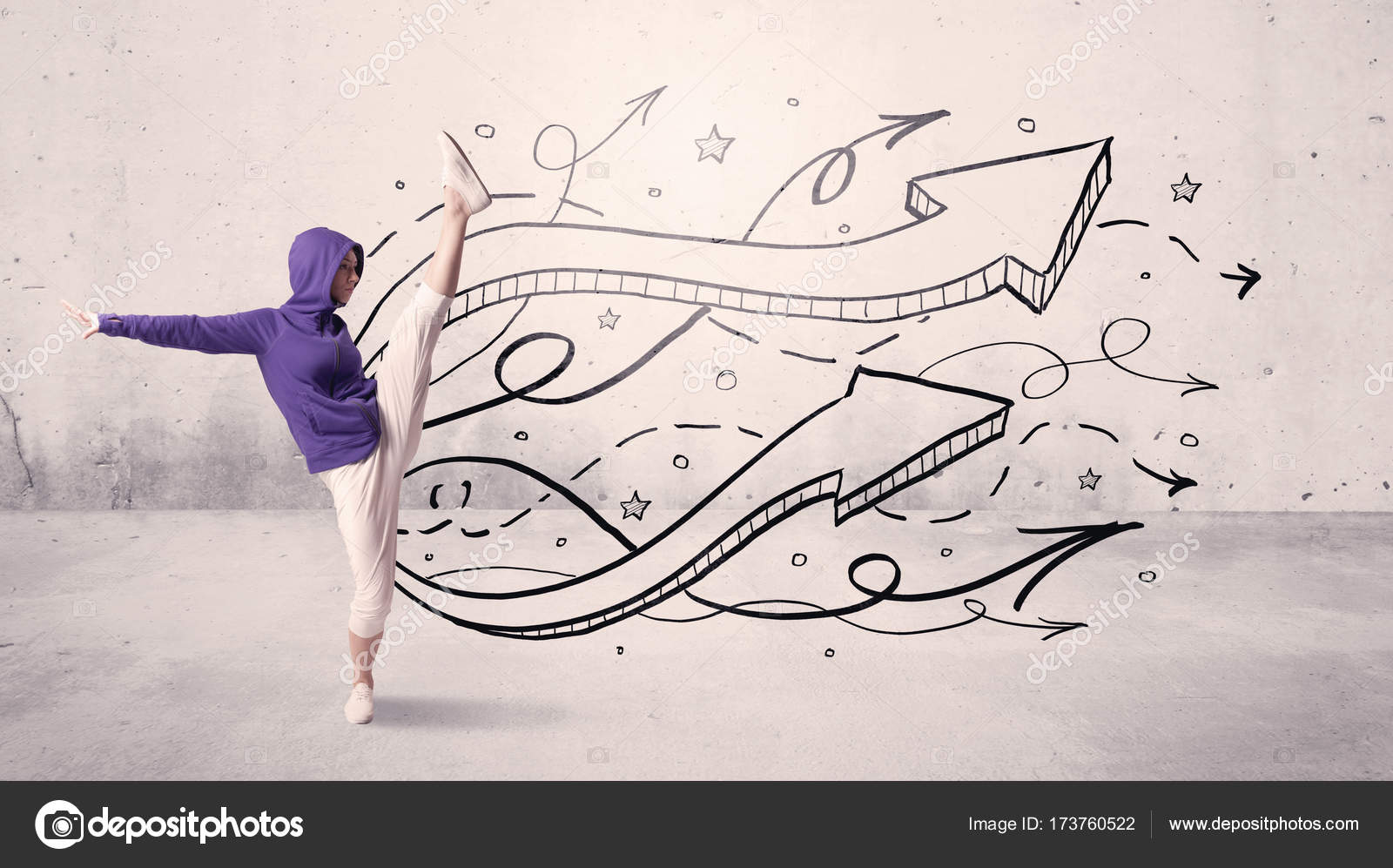 Drawing Lines With Arrows In Photo : Street dancer with arrows and stars u stock photo ra studio