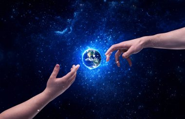 Male god hands about to touch the earth globe in the galaxy with bright shining stars and blue light illustration concept. Elements of this image furnished by NASA. stock vector