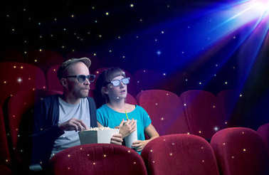 Lovely couple watching 3D movie with little sparkling stars around stock vector