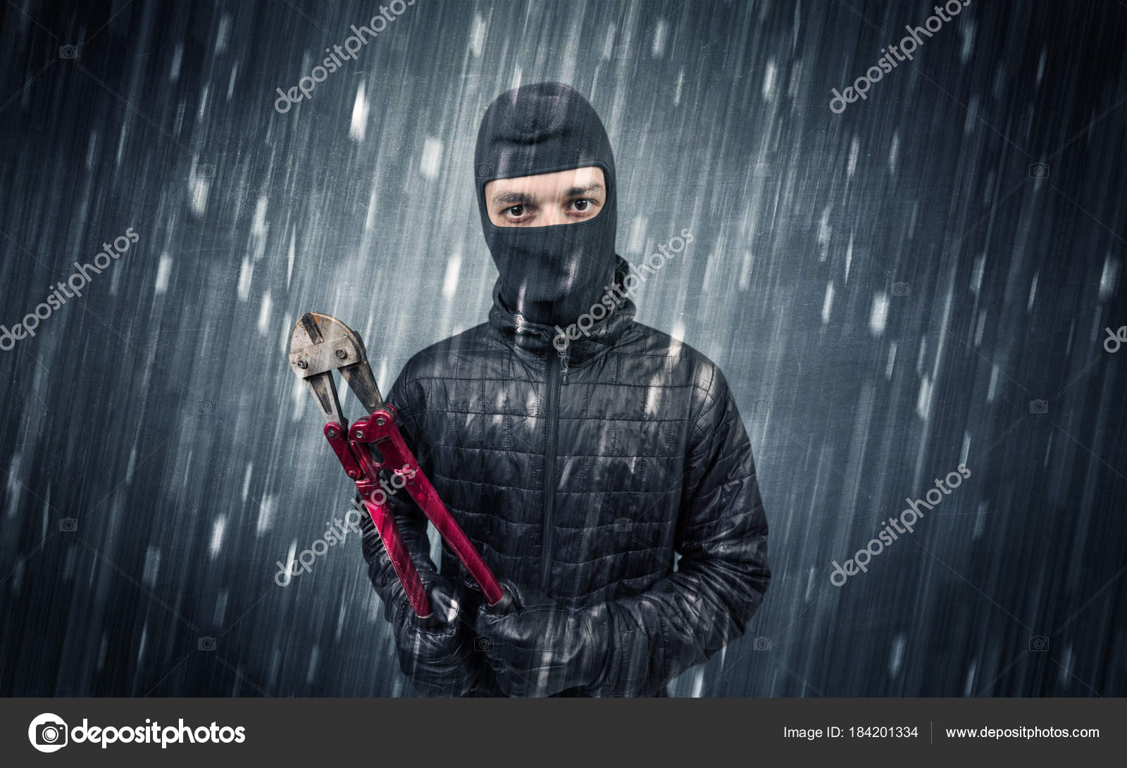 Einbrecher Von Haus Kamera In Aktion Erwischt Stockfoto