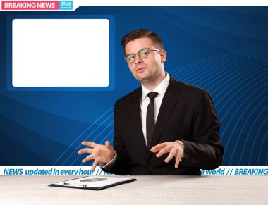 Television reporter telling breaking news at his studio desk wit