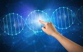 Photo Hand touching DNA molecule