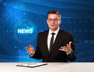 Modern televison presenter telling the news with tehnology backg