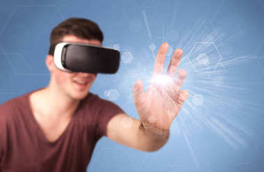 Young impressed man wearing virtual reality goggles with blue hexagons around him stock vector