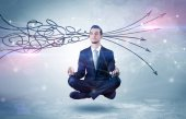Photo Businessman meditates with purifying doodle concept