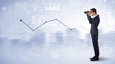 Businessman looking forward through binoculars with increase concept stock vector