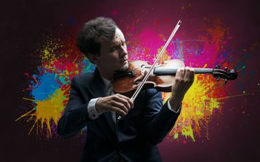 Composer with splotch and his violin