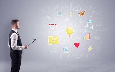 Creative thinking concept, symbols and manager