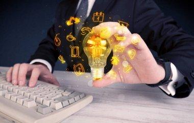 salesman promoting his bright ideas