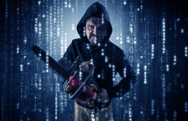Armed hacker in cyber security cloud concept