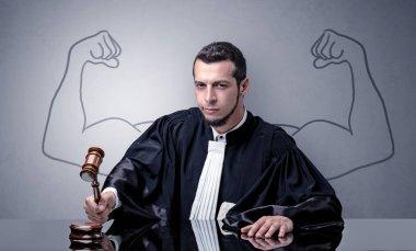 Brawny judge making decision
