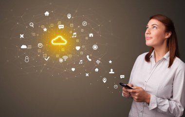 Person using phone with cloud technology concept