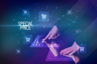 Online shopping concept with shopping cart icons