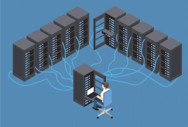 Isometric Vector Illustration diagnostic test in a server computer room. Server test in room. Technology communication