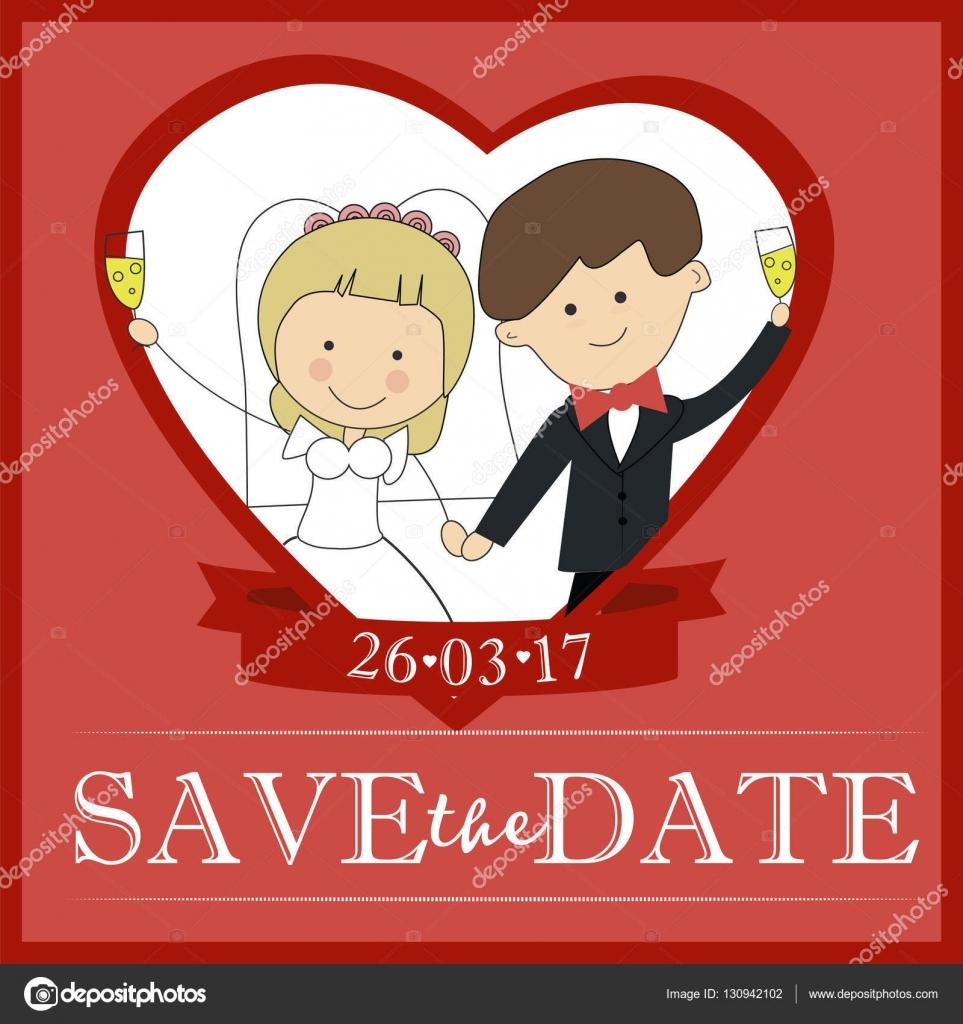 Cute groom and bride couple wedding invitation design Template ...