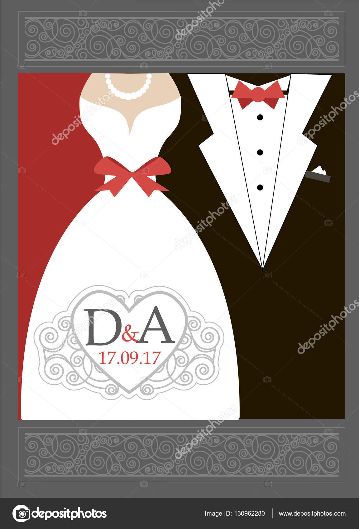 Bride And Groom Wedding Invitation Red Black White Stock Vector