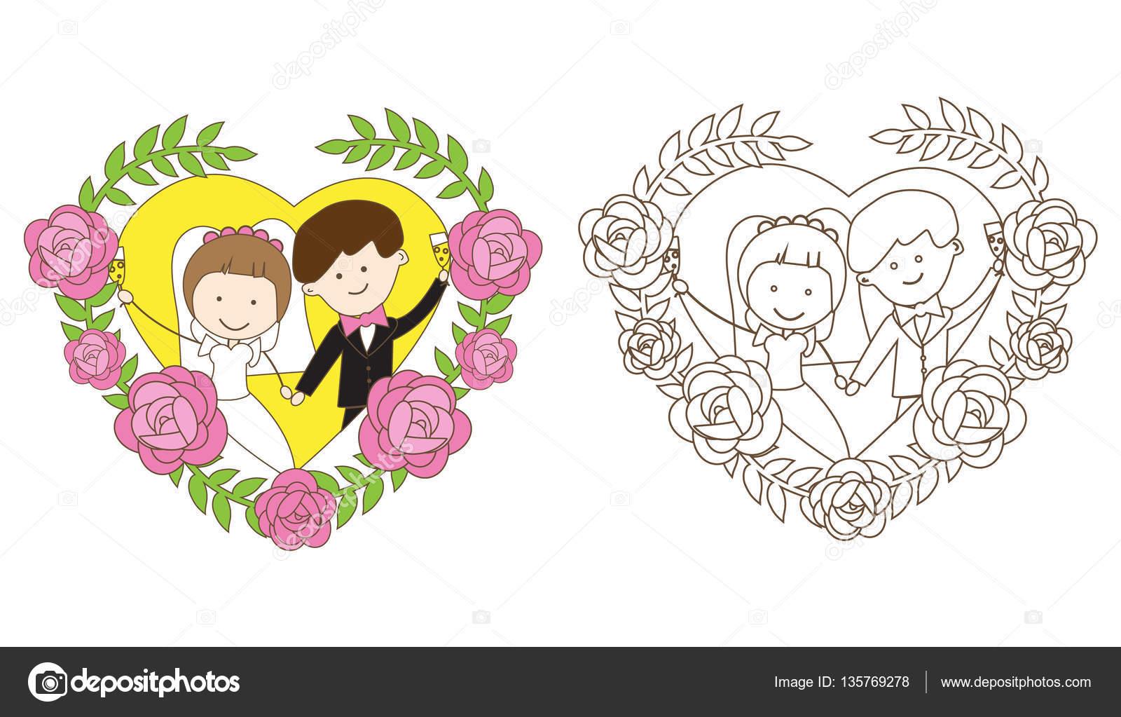Malvorlagen Hochzeit — Stockvektor © alenaspl #135769278