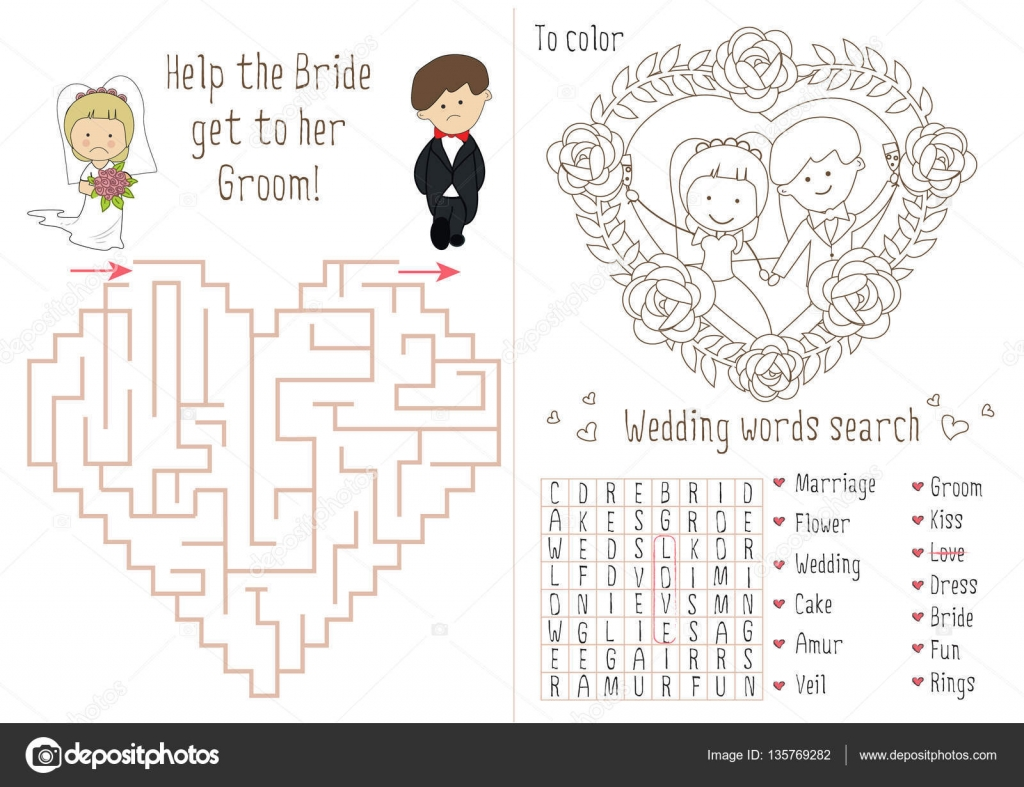 Wedding Activity Book For Kids. The maze heart. — Stock ...
