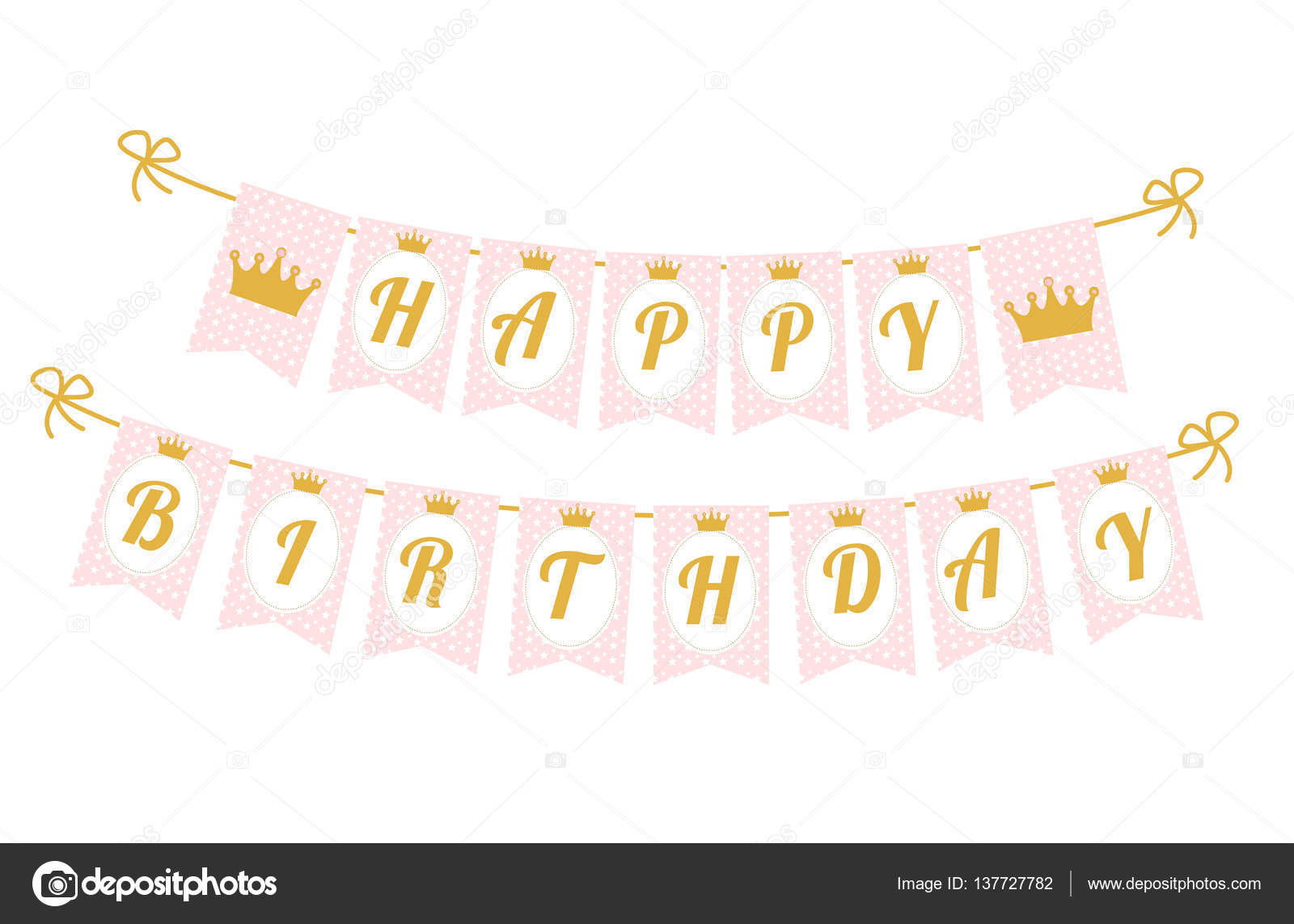 cute pennant banner as flags with letters happy birthday in princess