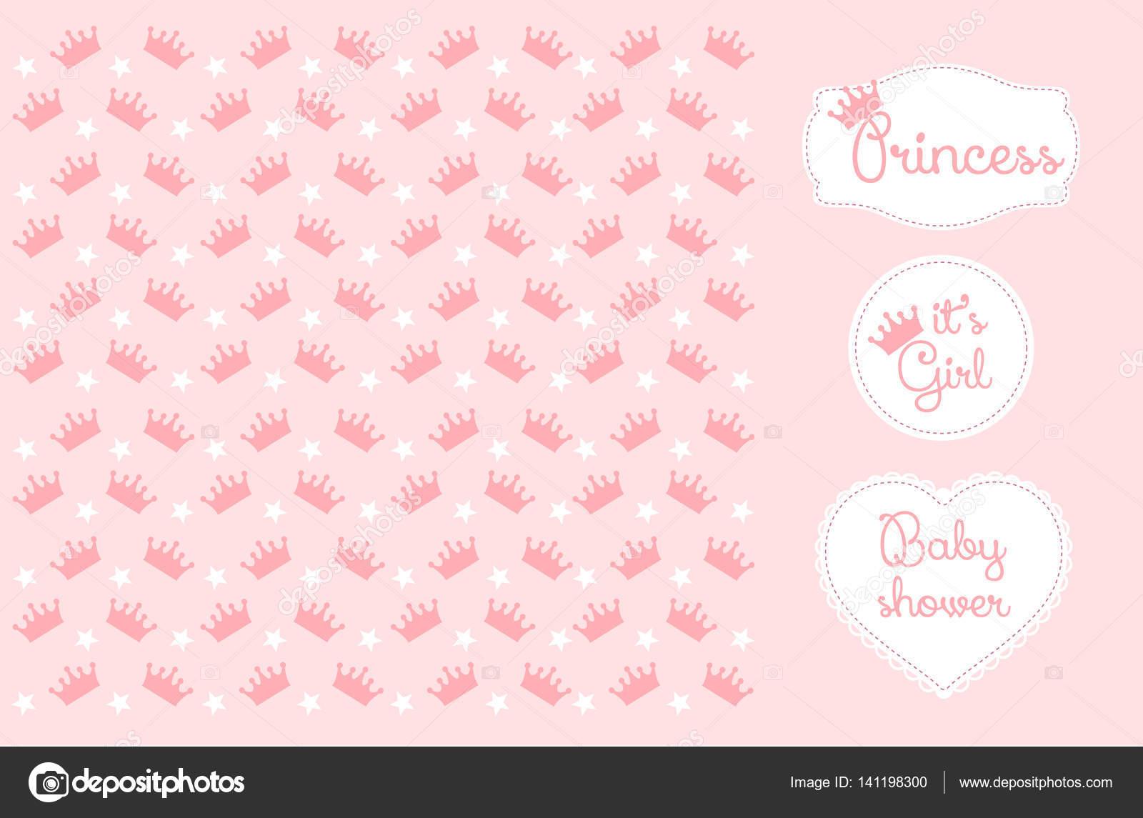 Coroa De Princesa Desenho: Ilustração Em Vetor Fundo De Coroa De Princesa Rosa