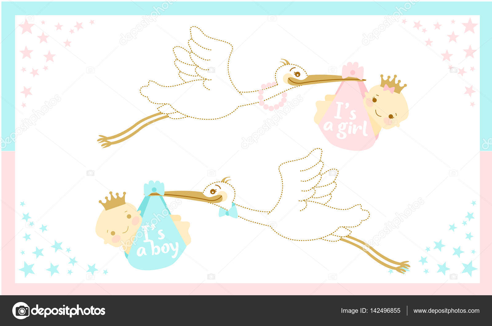 Baby Shower Stork Clipart ~ Baby shower card with stork carrying a baby. u2014 stock vector