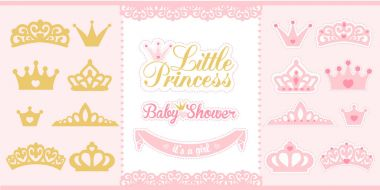 Gold and pink crowns set. Little princess design elements.