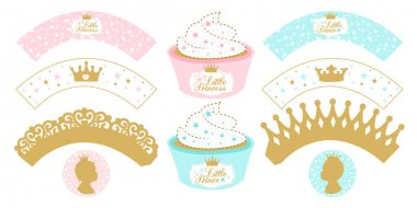 Set of cupcake wrappers for party. Little girl and boy.