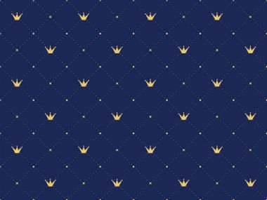Navy blue seamless pattern in retro style with a gold crown.