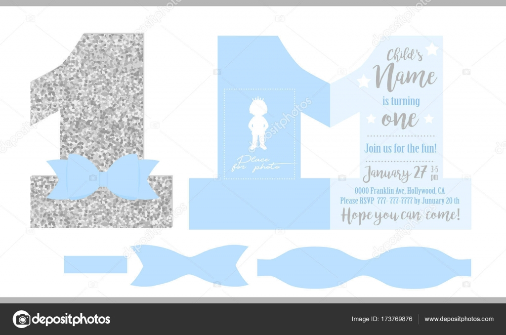 First birthday boys party printable invitation card for little first birthday boys party printable invitation card for little prince silver glitter and blue filmwisefo