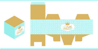 Little prince party printable template (baby shower, birthday) Die paper box. Print and cut. Gold and blue royal vector packing for sweet table. Favors gift box mockup.Cube shape package