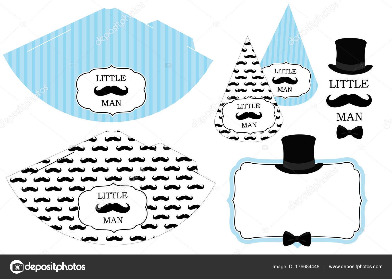 Sombreros Para Imprimir Poco Hombre Patrón Bigote Blanco Negro ...
