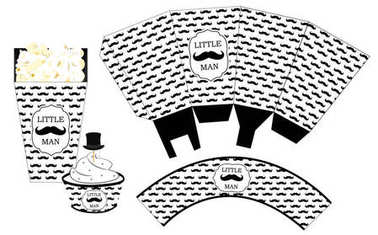 Popcorn paper box. Cupcake wrapper. Printable template for little man's birthday(baby shower boy) party. Black and white pattern. Print and cut. Fast folded. Mustache bash. Classic trendy style
