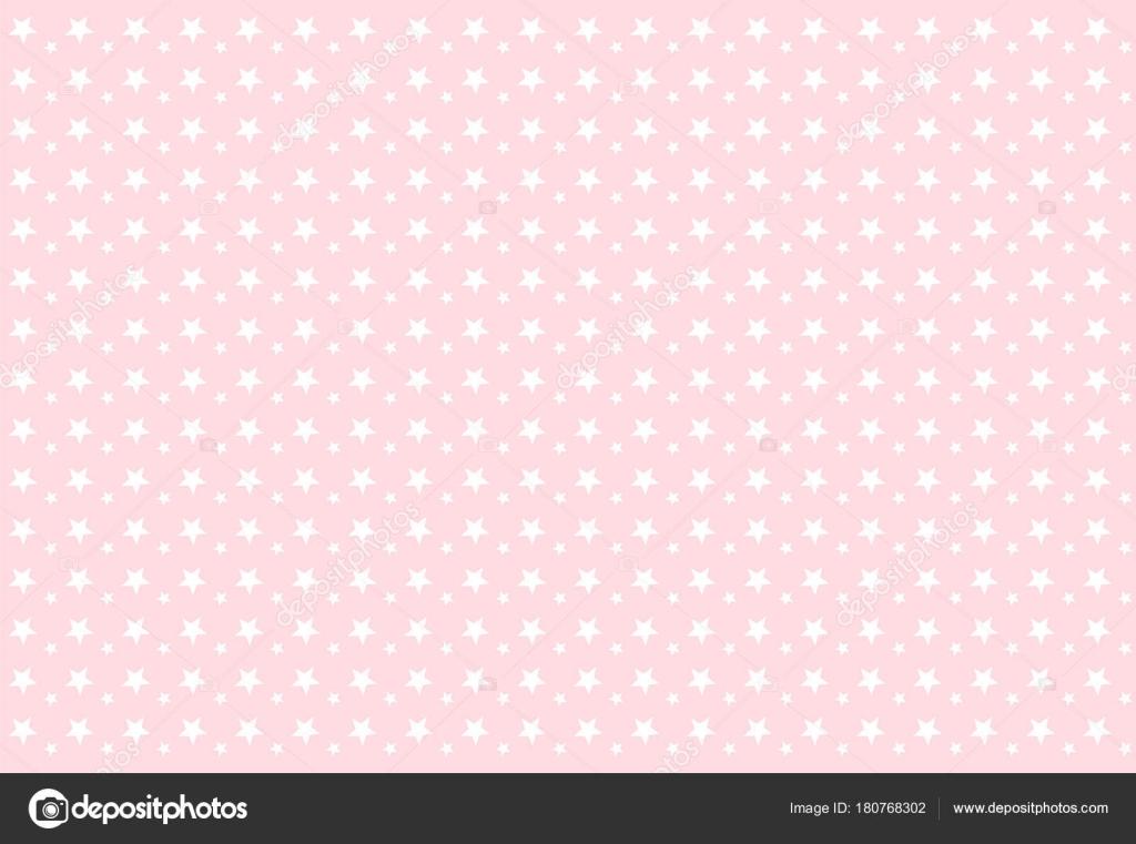 Babykamer Behang Sterren : Naadloze meisjesachtig patroon witte sterren roze achtergrond