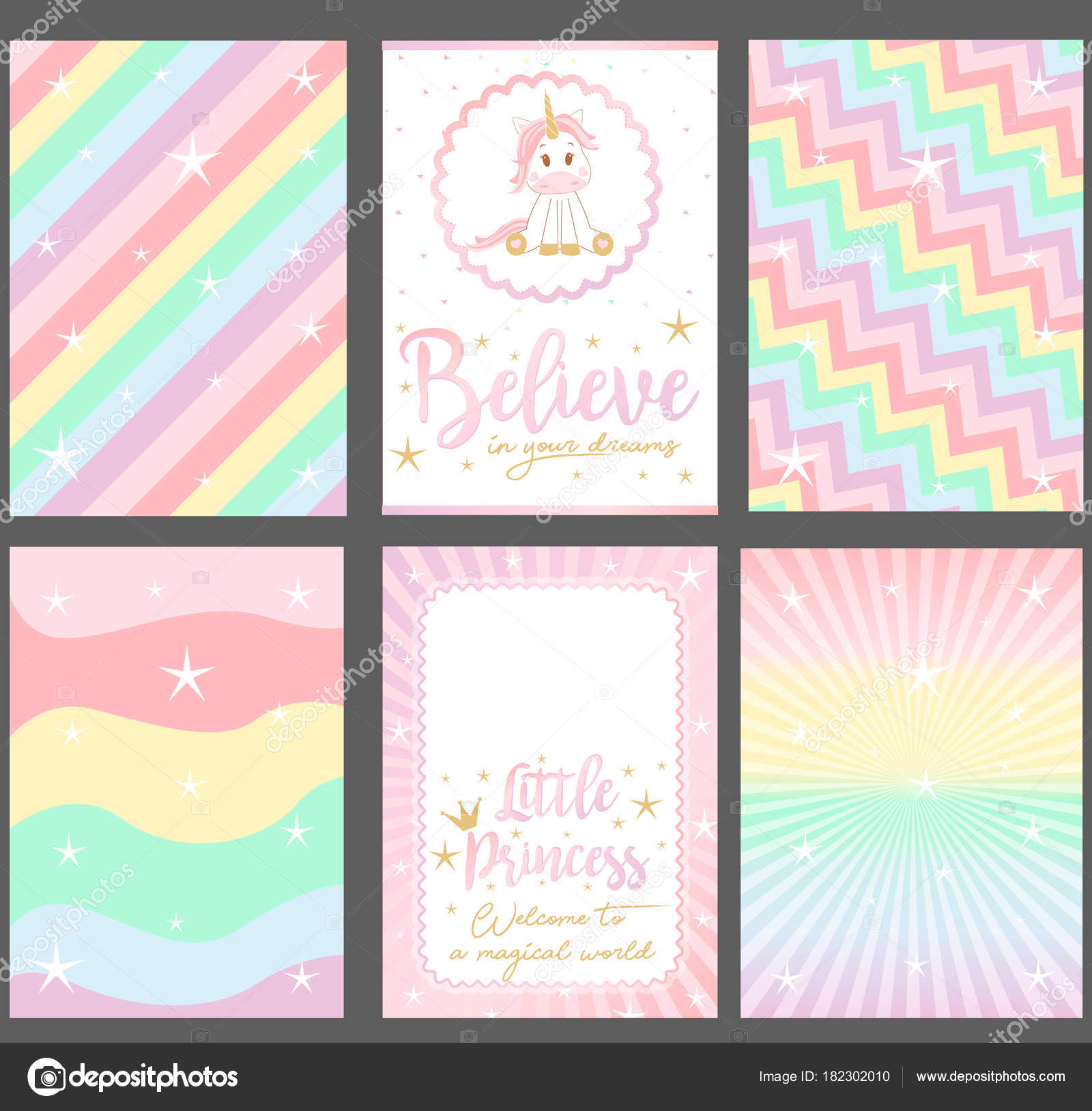Set Colored Pastel Vector Cards Party Invitation Rainbow Background ...