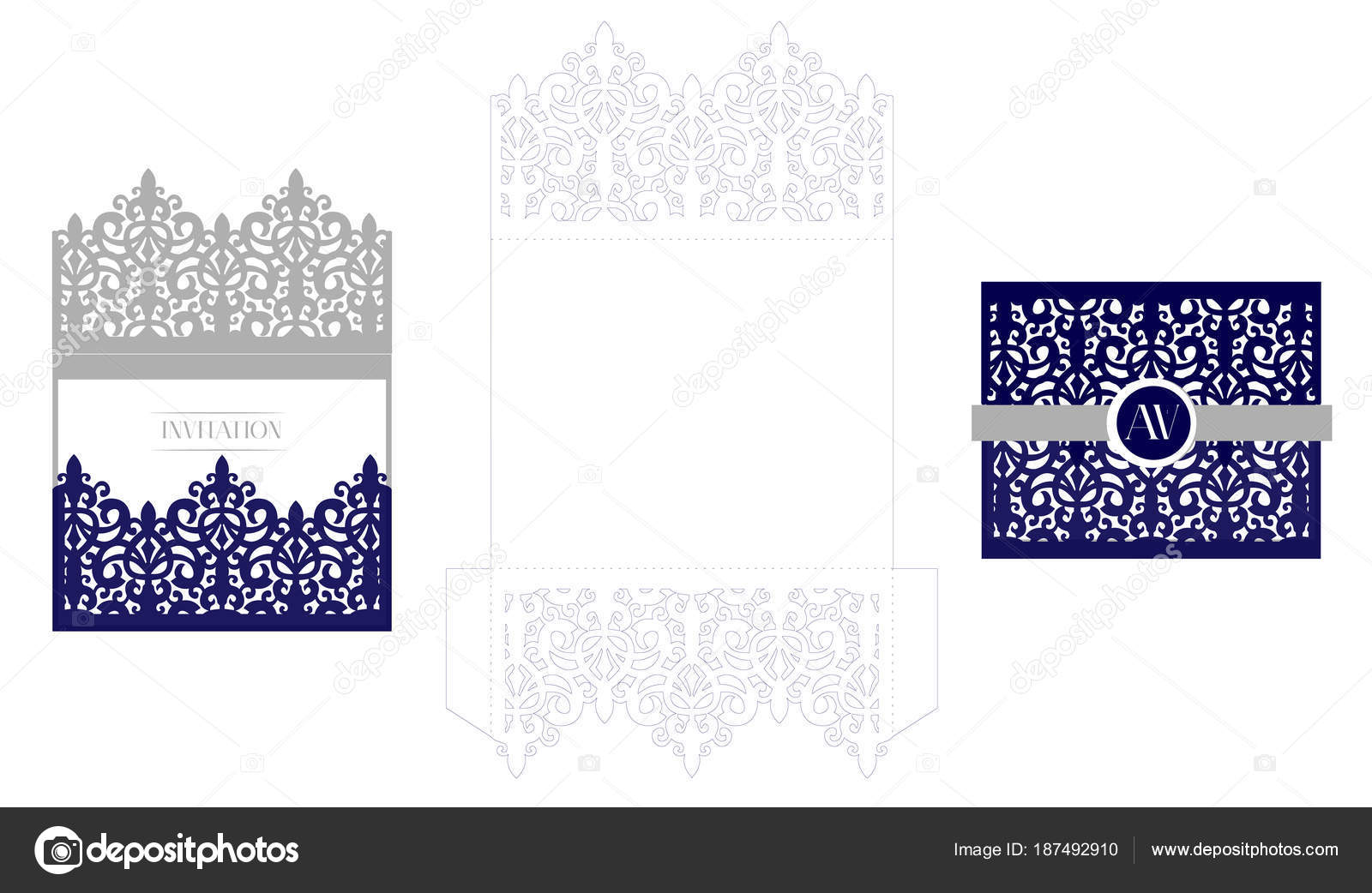 Wedding elegant invitation card packaging template mockup laser wedding elegant invitation card packaging template mockup for laser cutting vector royal envelope classic navy blue isolated on a background stopboris Image collections