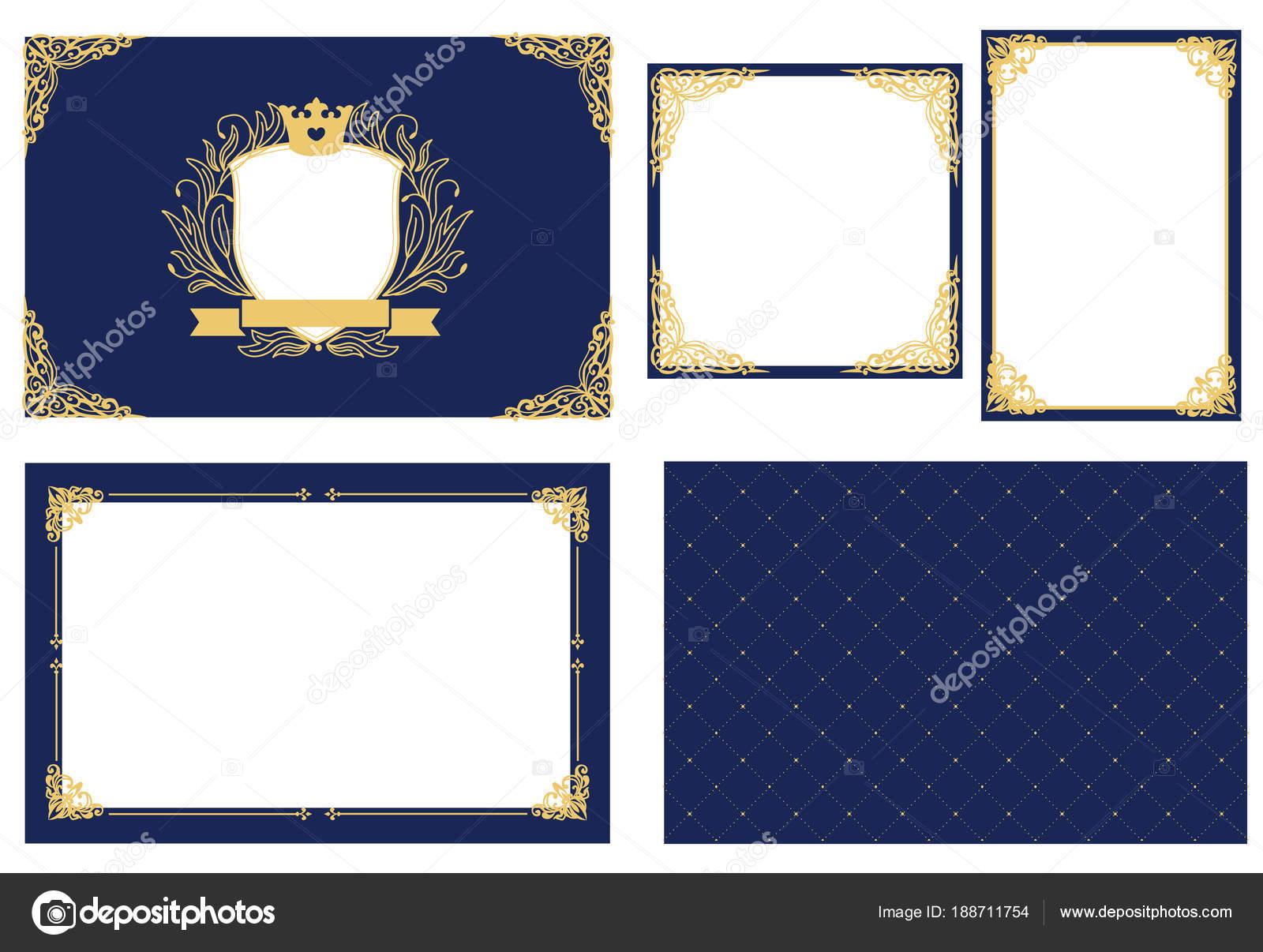 Conjunto Marco Imagen Vectorial Azul Marina Oro Esquina Decorativa ...