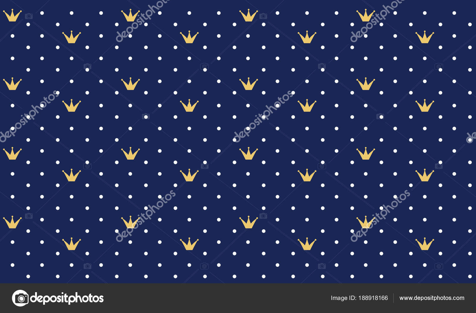 Navy Dark Blue Seamless Pattern Retro Style Gold Crown Can Stock