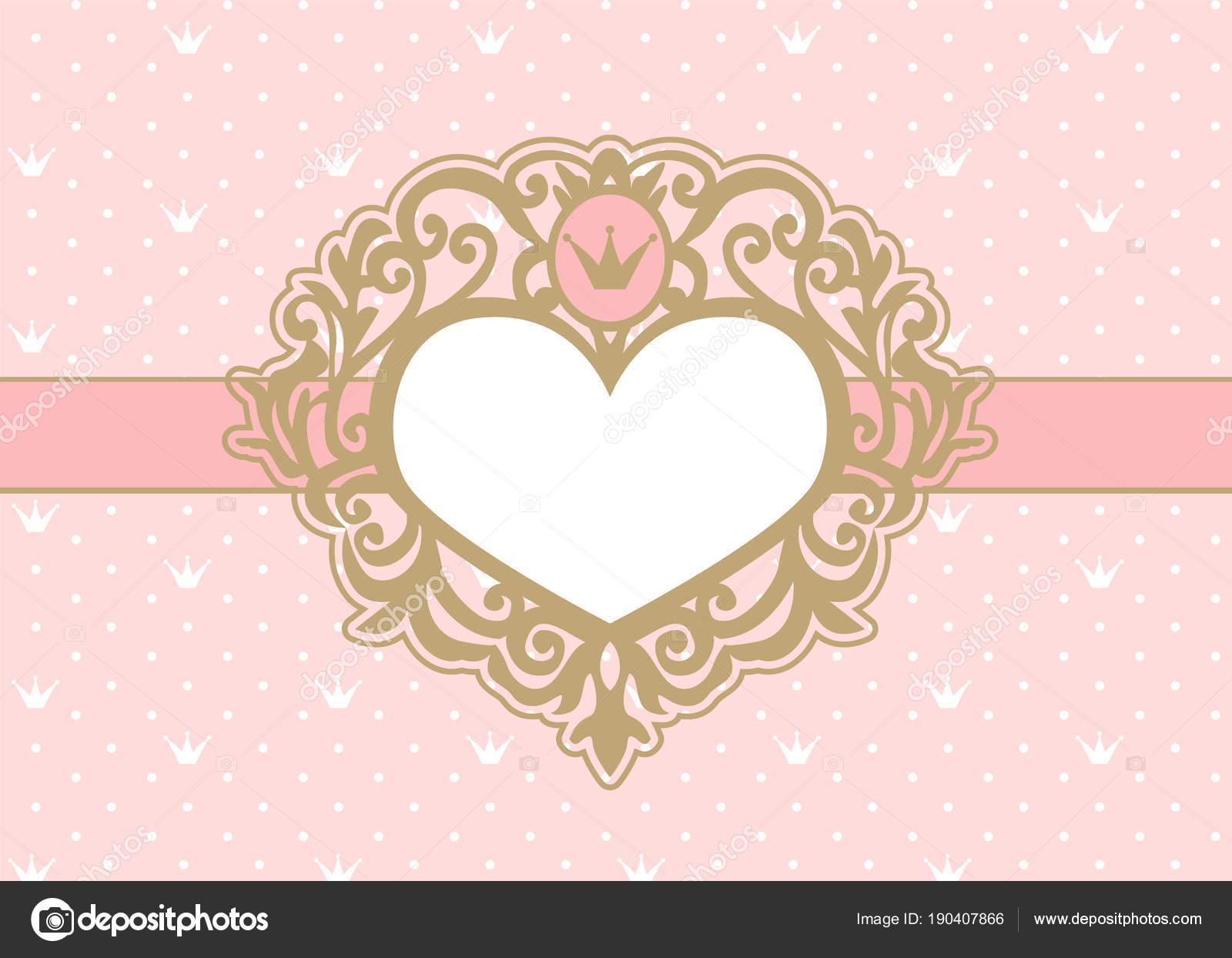 Lindo Fondo Rosa Con Lunares Corona Lujo Oro Marco Forma — Vector de ...