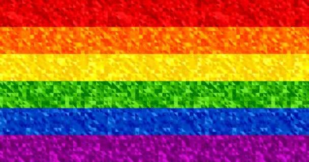 4k animované jiskřivé barvy duhy: červené, oranžové, žluté, zelené, modré a fialové pruhy. Slavnostní barevné bezešvé smyčky pozadí. Vlajka pýchy Lgbt. Geometrické třpyt video tapetaKlíčová slova languag